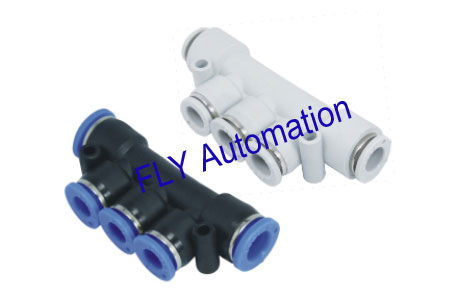 Different Diam One Touch PK,PKG Union Triple Plastic Pneumatic Tube Fittings